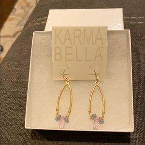 Karma Bella Brushed Gild Earrings with Beading